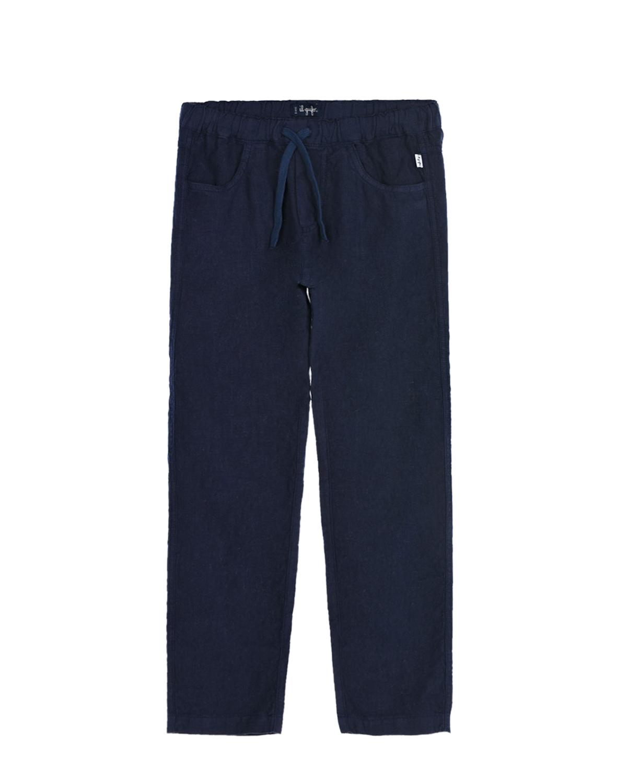 Купить Темно-синие льняные брюки IL Gufo детское, Синий, 100%лен, 100%хлопок