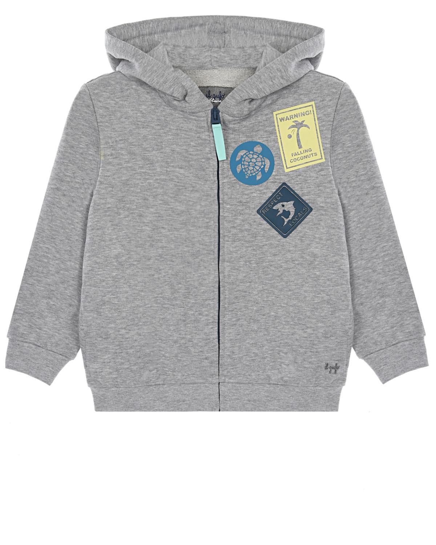 Купить Серая спортивная куртка с патчами IL Gufo детская, Серый, 100%хлопок, 95%хлопок+5%эластан