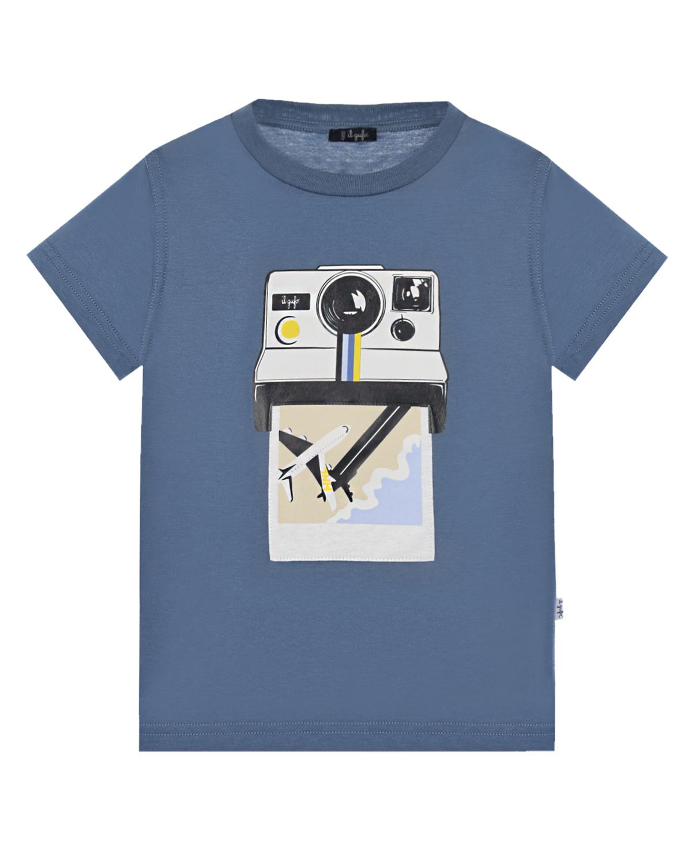 Купить Футболка с принтом Polaroid IL Gufo детская, Голубой, 100%хлопок