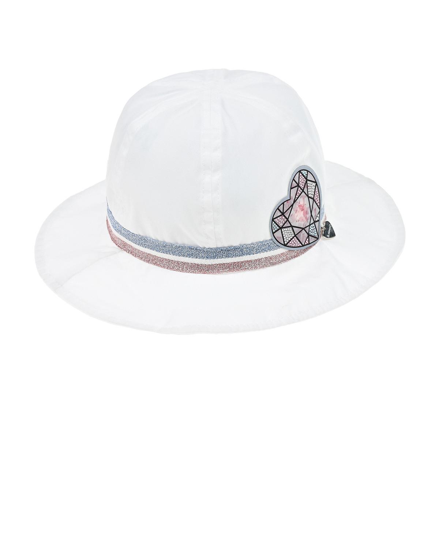 Купить Белая панама с декором сердце Il Trenino детская, Белый, 100% хлопок