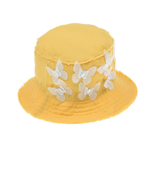 Купить Желтая панама с декором бабочки Il Trenino детская, Желтый, 100% лён