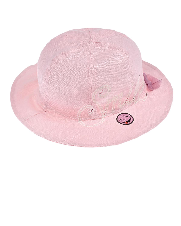 Купить Розовая панама с бантом Il Trenino детская, Розовый, 100% лён