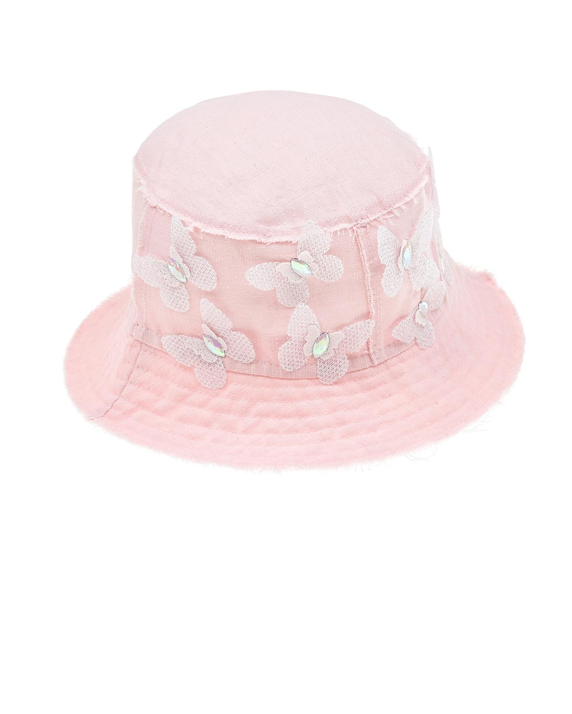 Купить Розовая панама с бабочками Il Trenino детская, Розовый, 100% лён