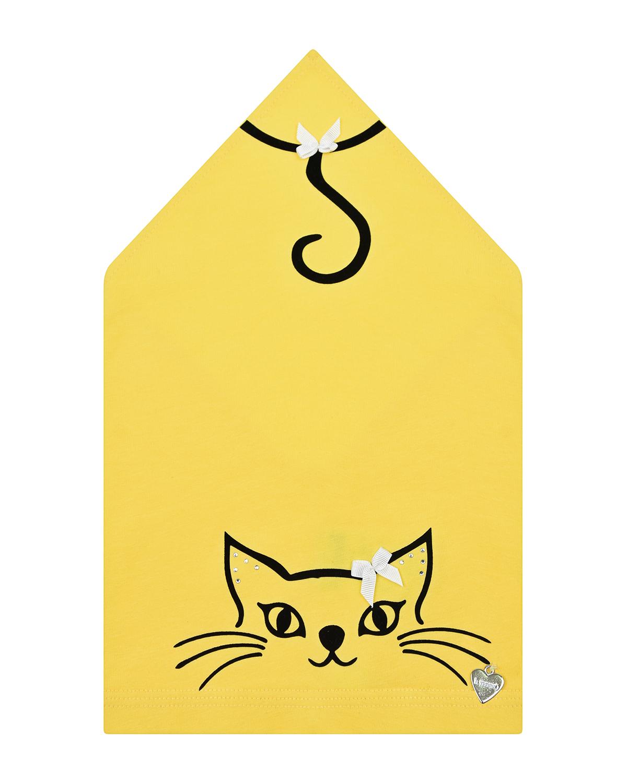 Купить Желтая косынка с декором кошка Il Trenino детская, Желтый, 95% хлопок+5% эластан