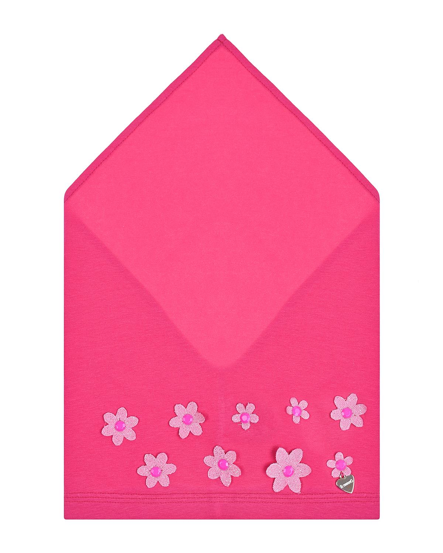 Косынка цвета фуксии с цветочными аппликациями Il Trenino детская, Нет цвета, 95% хлопок+5% эластан  - купить со скидкой