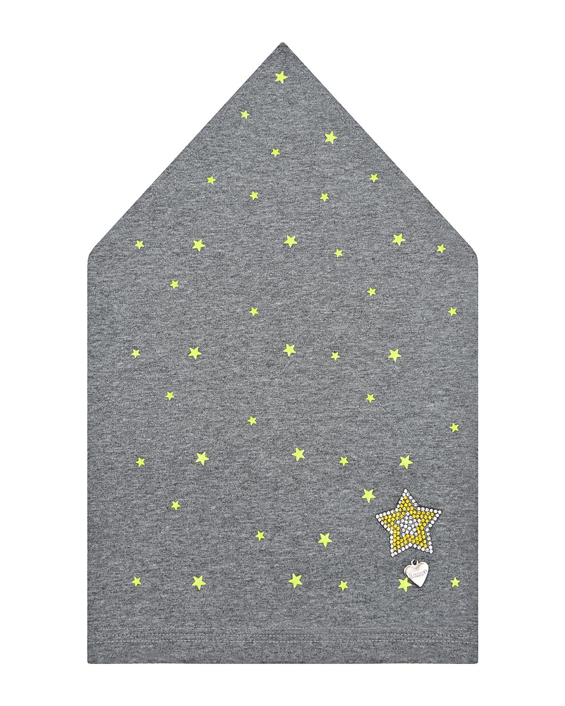 Купить Серая косынка со звездами из пайеток Il Trenino детская, Нет цвета, 95% хлопок+5% эластан