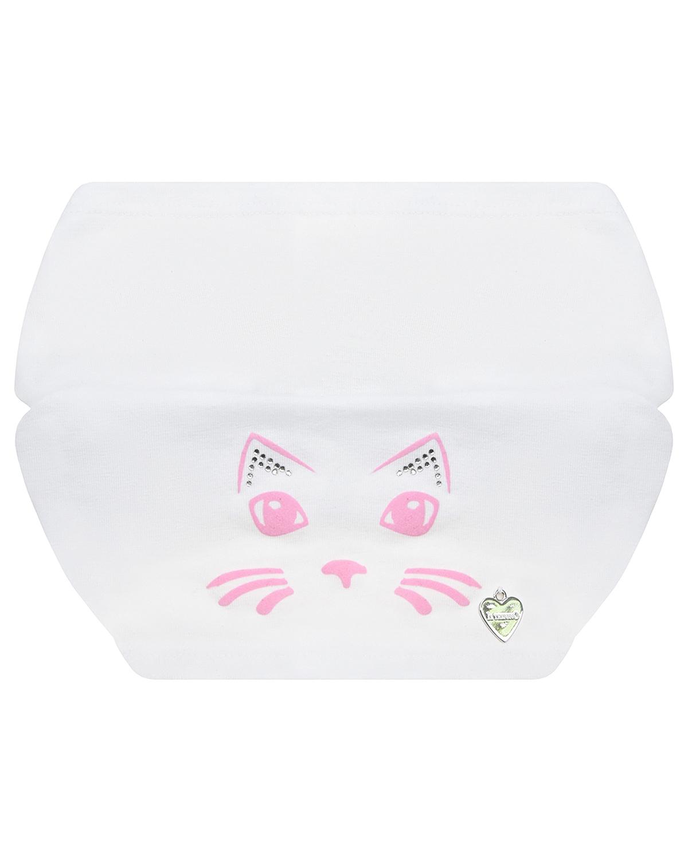 Купить Белая косынка с декором кошка Il Trenino детская, Белый, 95% хлопок+5% эластан