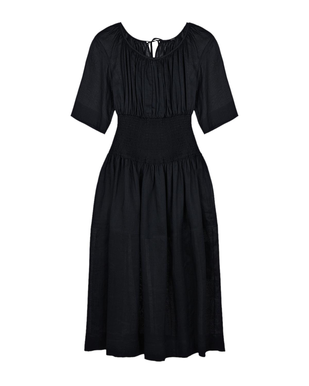 Купить Черное приталенное платье Joseph, Черный, 100%волокно крапивы, 100%хлопок