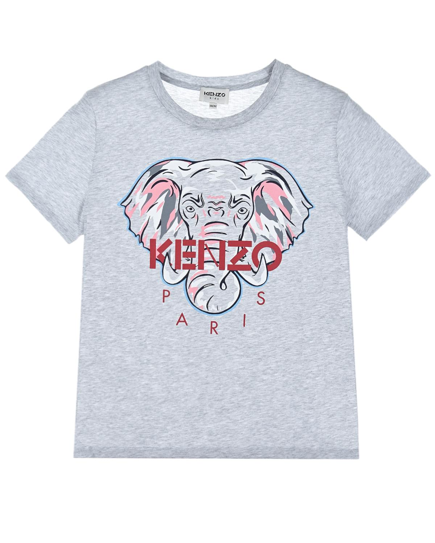 Купить Серая футболка с принтом слон KENZO детская, Серый, 100%хлопок