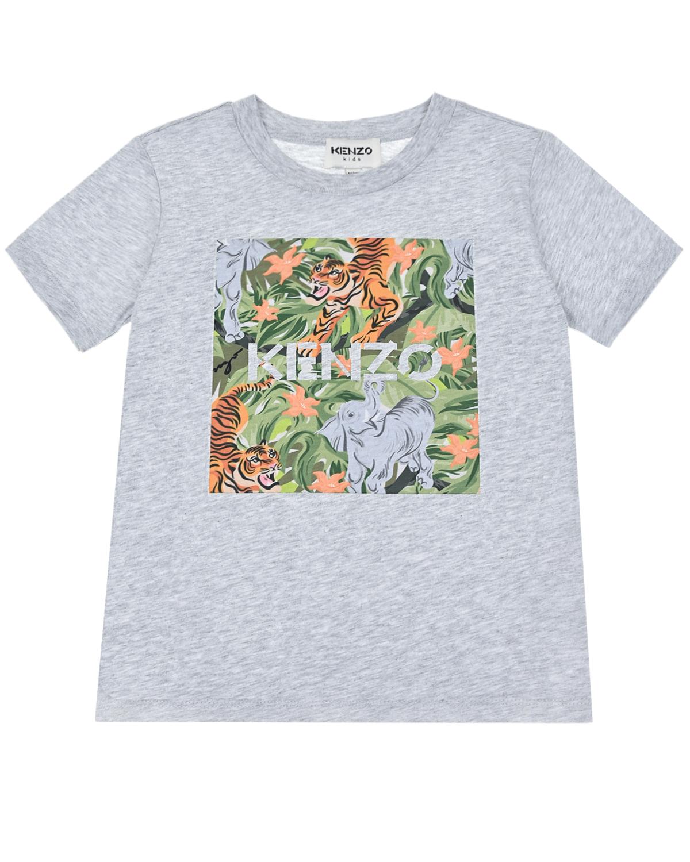 Купить Серая футболка с принтом джунгли KENZO детская, Серый, 100%хлопок