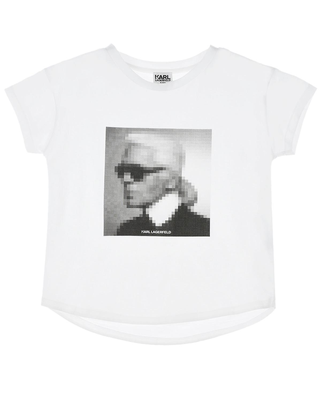 Купить Белая футболка с принтом Карл Karl Lagerfeld kids детская, Белый, 100%хлопок