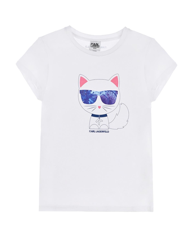 Купить Белая футболка с принтом Choupette в очках Karl Lagerfeld kids детская, Белый, 47%хлопок+46%модал+7%эластан