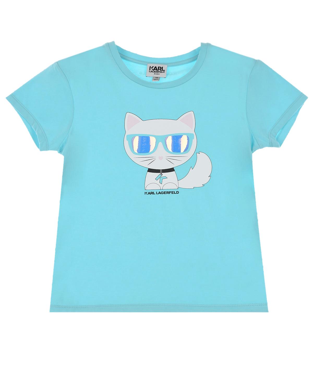 Купить Голубая футболка с принтом Шупетт Karl Lagerfeld kids детская, Голубой, 47%хлопок+46%модал+7%эластан
