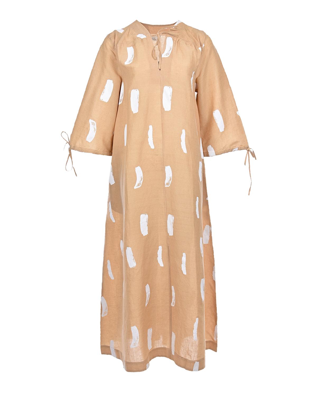 Купить Бежевое платье с абстрактным принтом LOVE BIRDS, Бежевый, 58%лен+42%хлопок
