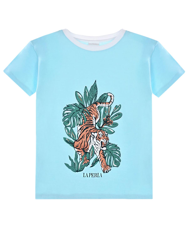 Купить Голубая футболка с принтом тигр La Perla детская, Голубой, 100%хлопок