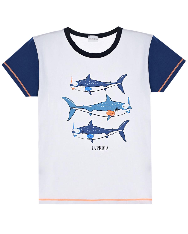 Купить Футболка с принтом акулы La Perla детская, Белый, 100%хлопок