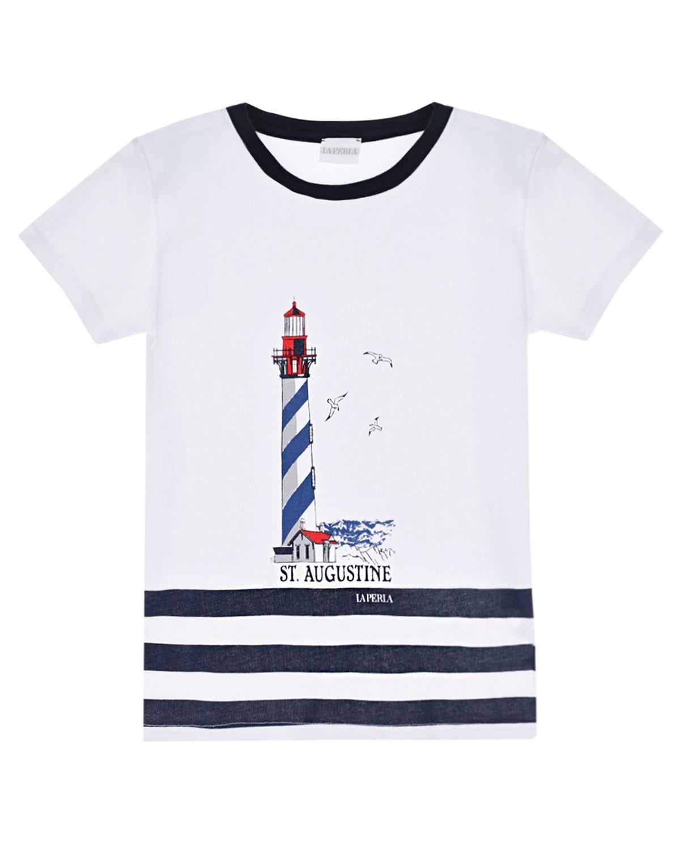 """Футболка с принтом """"маяк"""" La Perla детская, Белый, 100%хлопок  - купить со скидкой"""