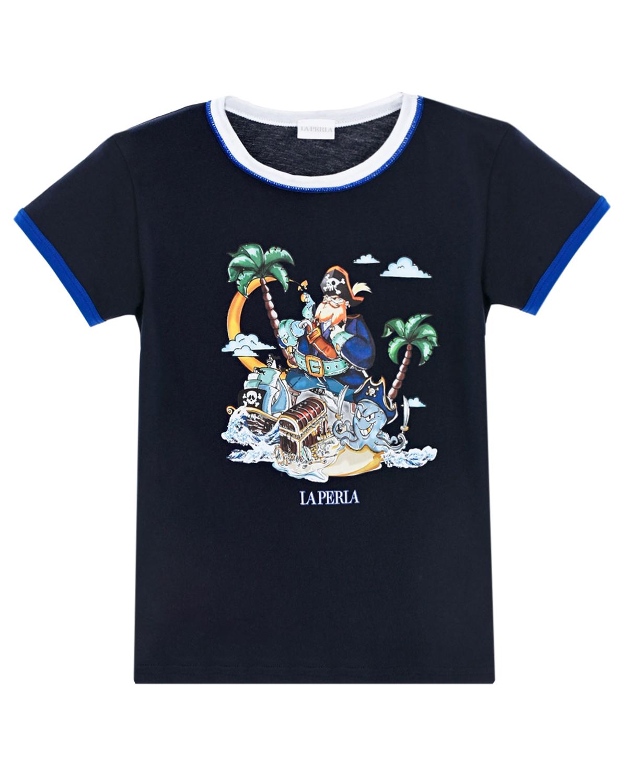 Купить Синяя футболка с принтом пират La Perla детская, Синий, 100%хлопок