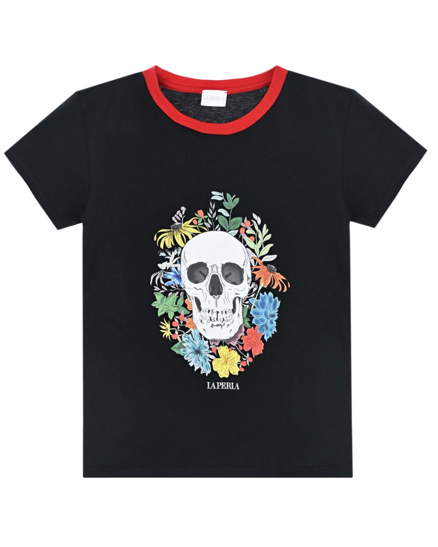 Купить Черная футболка с принтом череп La Perla детская, Черный, 100%хлопок