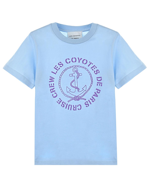 Купить Голубая футболка с принтом якорь Les Coyotes de Paris детская, Голубой, 100%хлопок