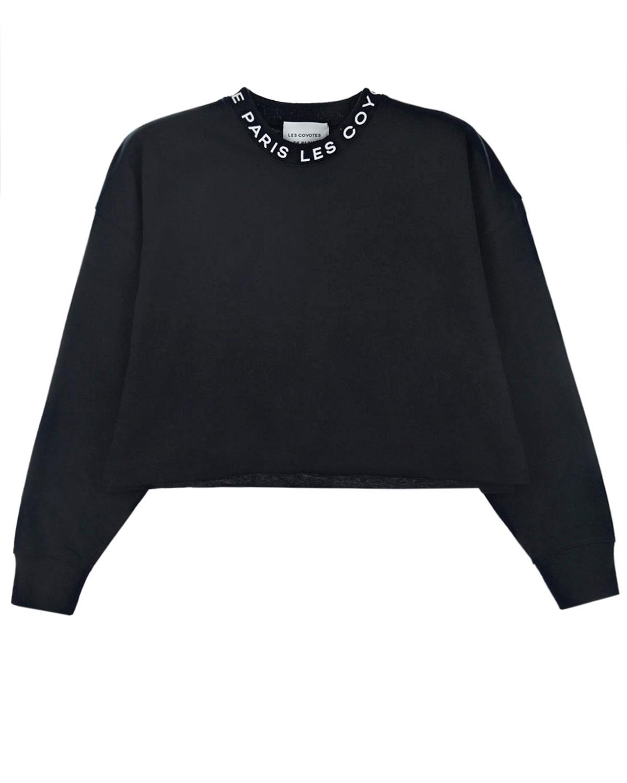 Купить Черный свтишот с белым логотипом Les Coyotes de Paris детский, 100%хлопок