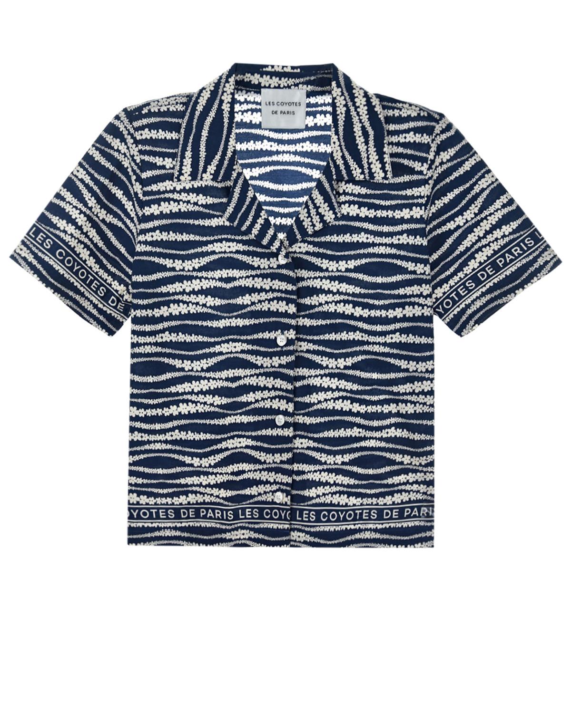 Купить Синяя рубашка с цветочным принтом Les Coyotes de Paris детская, Синий, 100%хлопок
