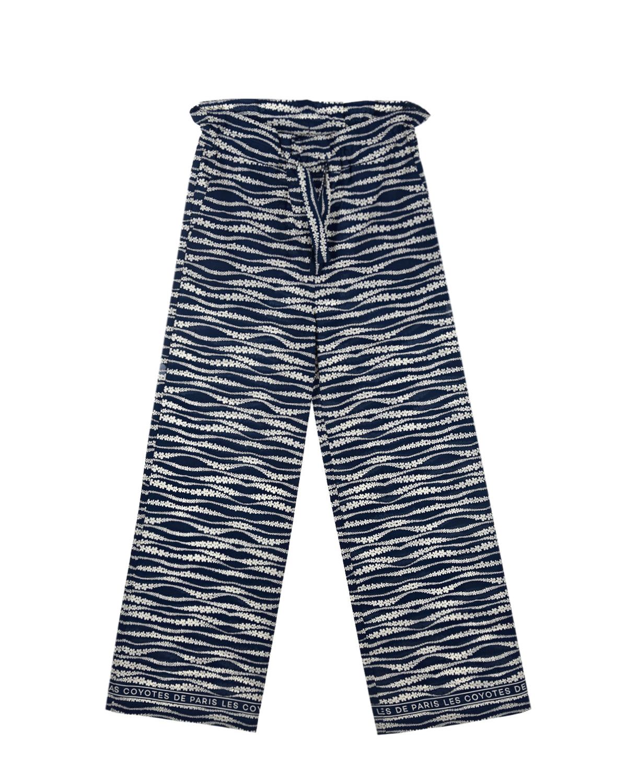 Синие брюки с цветочным принтом Les Coyotes de Paris детские, Синий, 100%хлопок  - купить со скидкой