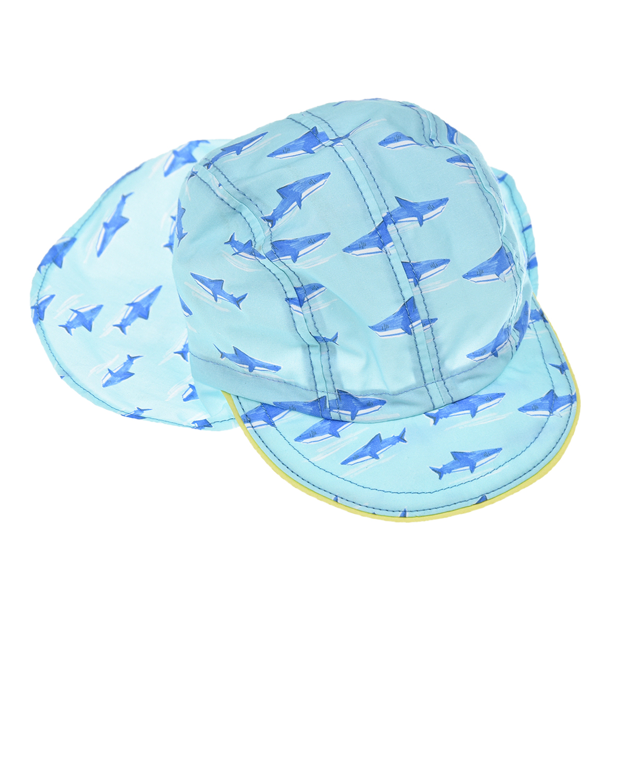 Купить Голубая панама с принтом акулы MaxiMo детская, Голубой, 100%хлопок