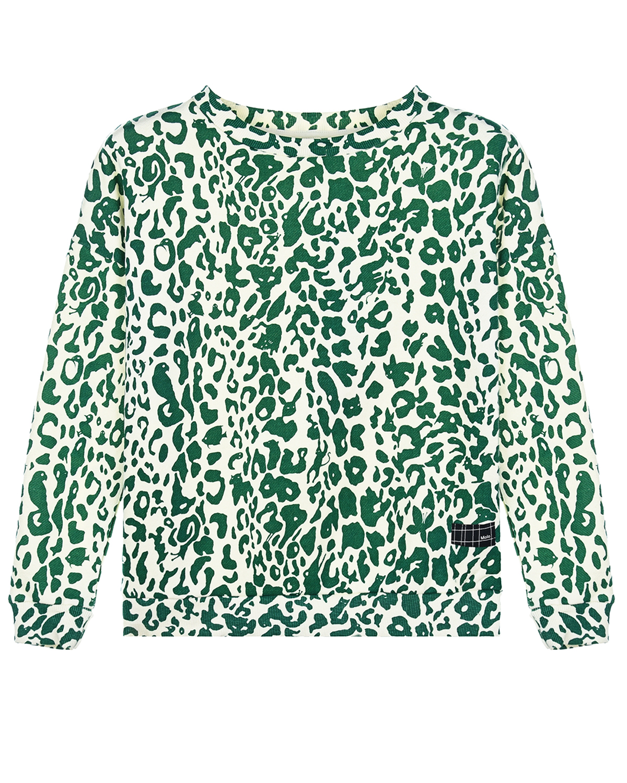 """Свитшот Mika """"Green Leopard"""" Molo детский, Зеленый, 50%хлопок+50%вискоза  - купить со скидкой"""
