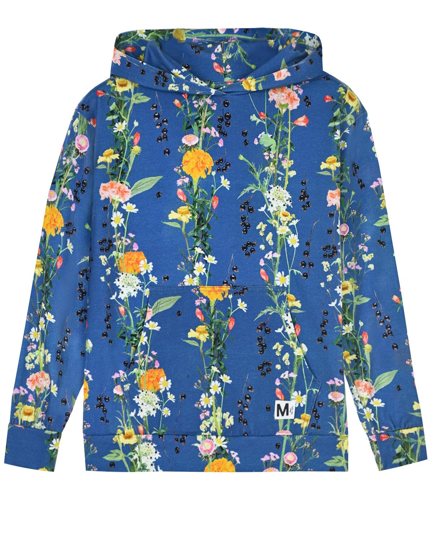 Купить Синяя толстовка-худи Rhona Vertical Flowers Molo детская, Синий, 95%хлопок+5%эластан