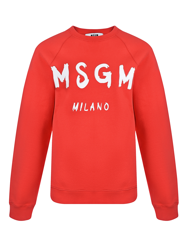 Купить Красный свитшот с белым логотипом MSGM, 100%хлопок