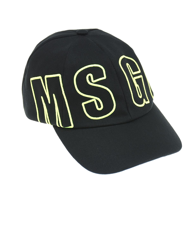 Купить Бейсболка с желтым логотипом MSGM детская, Черный, 100%хлопок