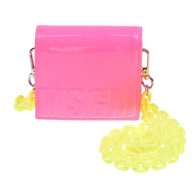 Розовая сумка с желтой цепочкой, 12x11x3 см MSGM детская розового цвета