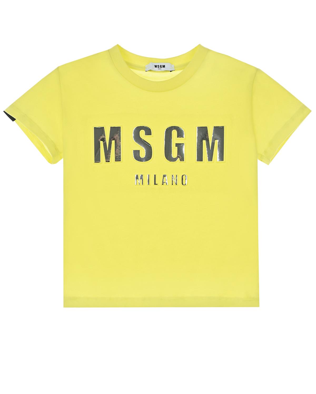 Купить Желтая футболка с серебристым логотипом MSGM детская, Желтый, 100%хлопок