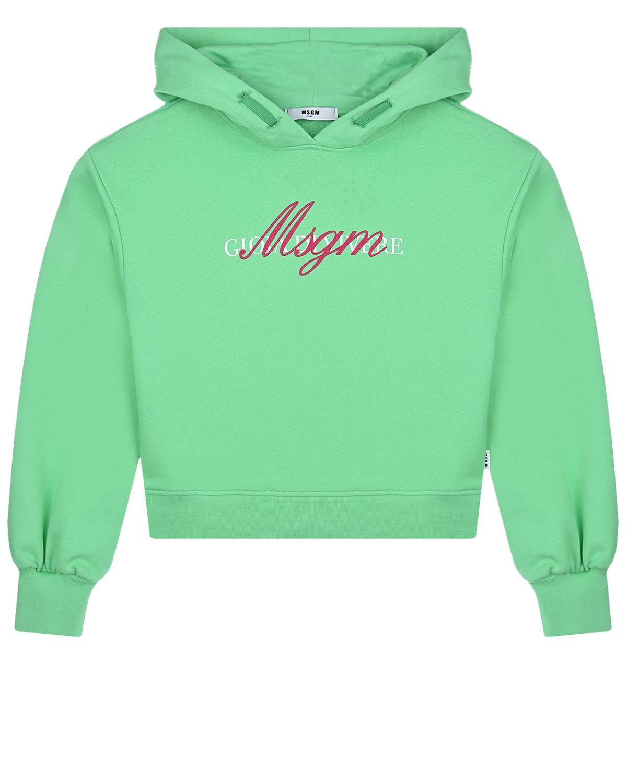 Купить Зеленая толстовка-худи с логотипом MSGM детская, Зеленый, 100%хлопок