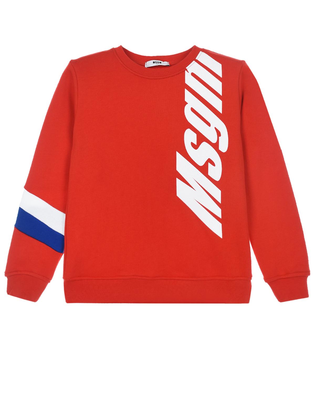 Купить Красный свитшот с полосками на рукаве MSGM детский, 100%хлопок
