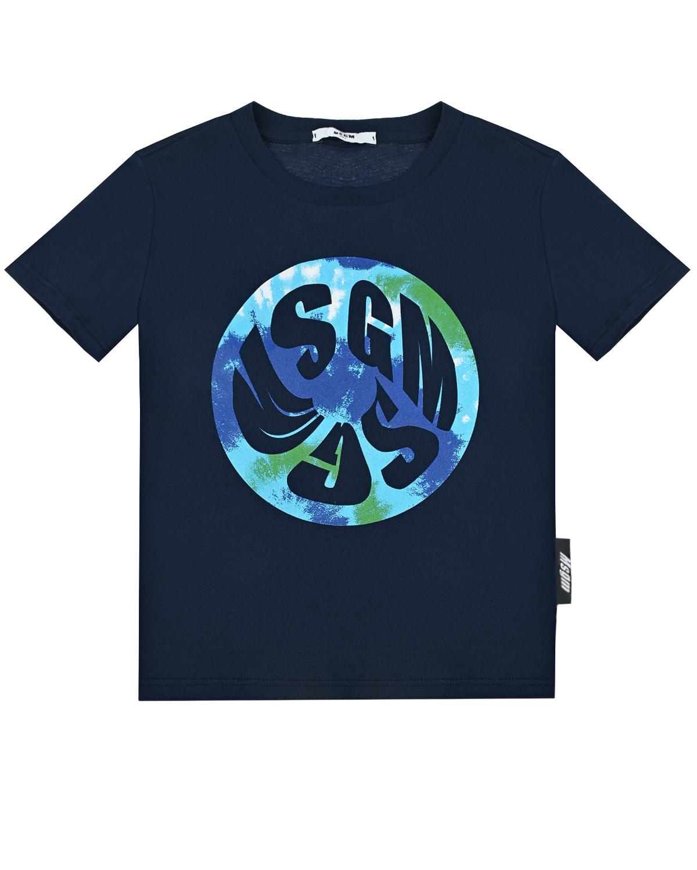 Купить Синяя футболка с круглым логотипом MSGM детская, Синий, 100%хлопок