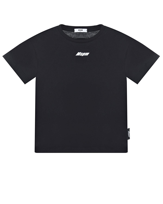 Купить Черная футболка с логотипом MSGM детская, Черный, 100%хлопок