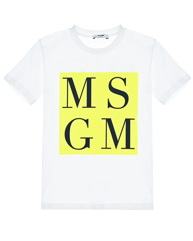 Купить Футболка из хлопка с логотипом MSGM детская, Белый, 100%хлопок