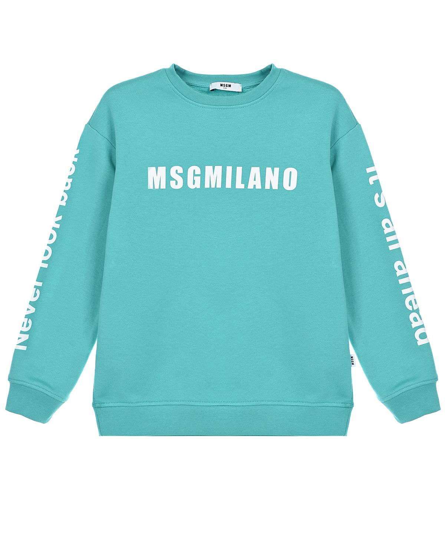 Купить Бирюзовый свитшот с белым логотипом MSGM детский, Нет цвета, 100%хлопок