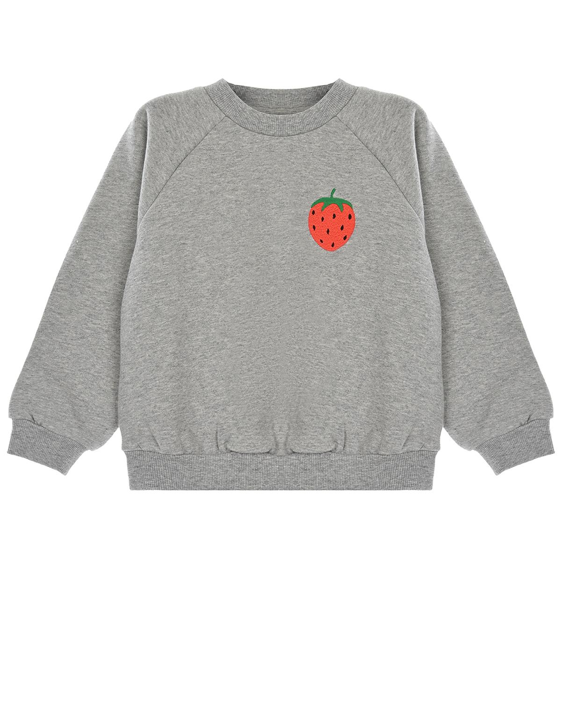 Купить Серый свитшот с вышивкой клубника Mini Rodini детский, 100% хлопок