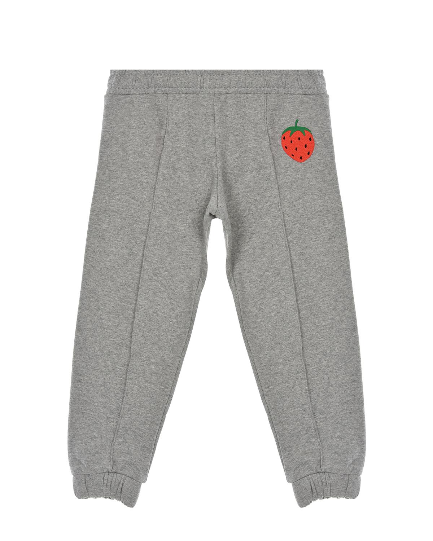 Купить Серые спортивные брюки с вышивкой клубника Mini Rodini детские, Серый, 100% хлопок