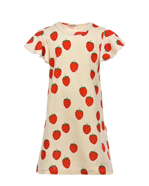 Купить Платье из хлопка с принтом Клубнички Mini Rodini детское, Белый, 100% хлопок