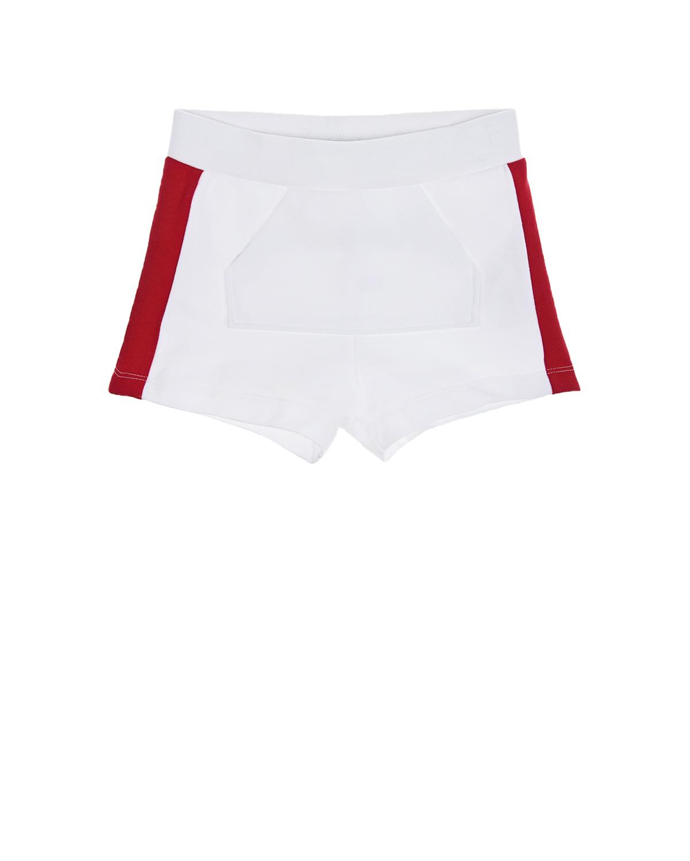 Купить Белые шорты с красными лампасами Monnalisa детские, Белый, 95%хлопок+5%эластан