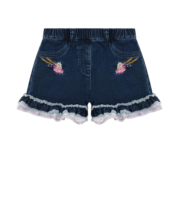 Купить Синие джинсовые шорты с рюшами Monnalisa детские, Синий, 98%хлопок+2%эластан, 100%хлопок