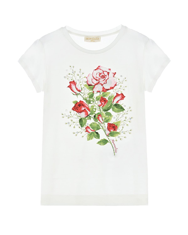 Купить Белая футболка с принтом розы Monnalisa детская, Белый, 95%модал+5%эластан