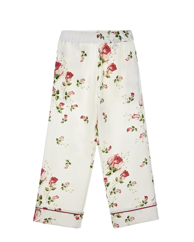 Купить Белые брюки с принтом розы Monnalisa детские, Белый, 90%полиэстер+10%эластан
