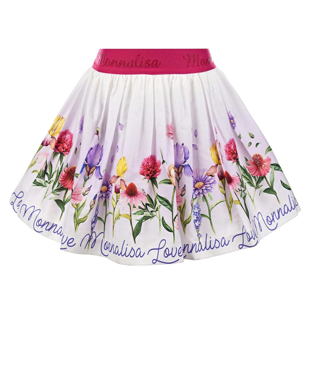 Купить Белая юбка с цветочным принтом Monnalisa детская, Белый, 100%хлопок, 100%полиамид