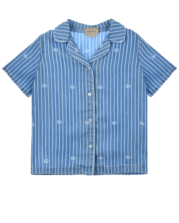 Купить Голубая рубашка в тонкую полоску GUCCI детская, Голубой, 100%лиоцелл, 100%хлопок