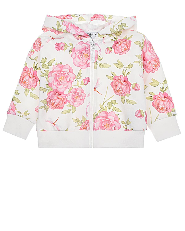 Купить Спортивная куртка с принтом розы Monnalisa детская, Мультиколор, 95%хлопок+5%эластан